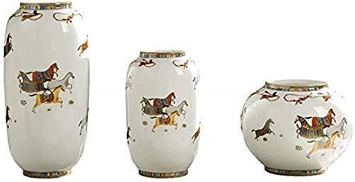 GBLight Florero de cerámica colección clásica ornamento de cristal artesanal planta hidropónica pesada mesa 3 piezas regalo blanco