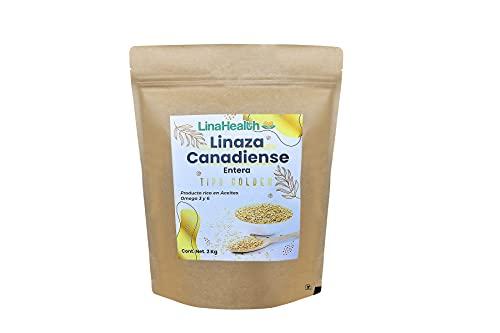 Linahealth Linaza Canadiense Tipo Golden o Dorada Entera 2kg Superfood con alta Concentración de Aceites Omega 3 y 6