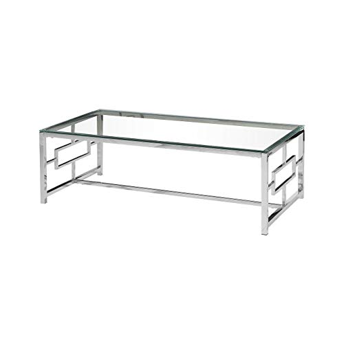 Best Master Furniture E-Design Stainless Steel Glass Top Coffee Table, Silver