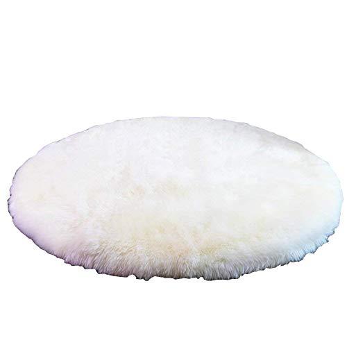 GOYOO Teppich Nachahmung Wolle Weich Langes Haar Runde Wohnzimmer Familie Hindernisblock Bequem Schlafzimmer Stuhl,70CM
