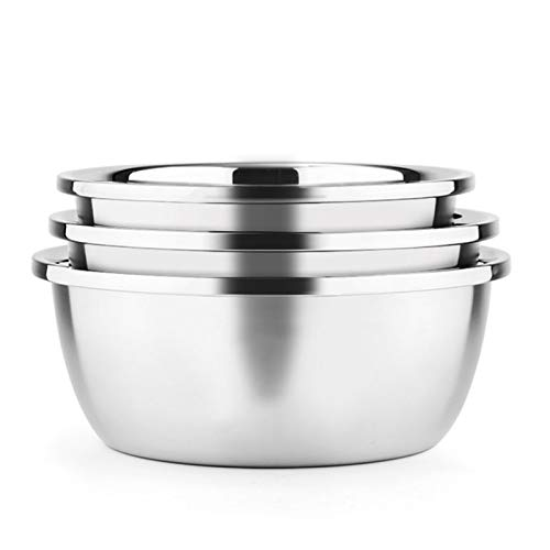 ZHENZEN Mixing bowl 304 chrome steel Multifunctional family thickening Kitchen whisk Salad mixing bowl Noodle bowl Suitable for cooking 3pcs