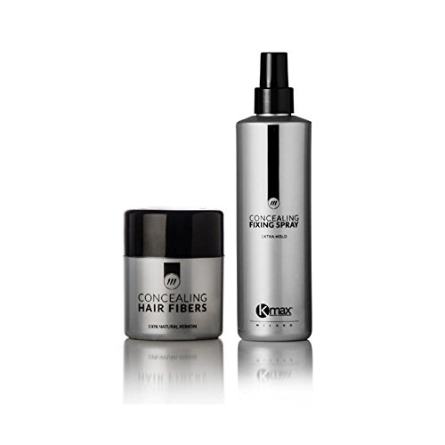 Kmax - Kit Anti Diradamento Capelli, soluzione per caduta capelli: Fibre Capillari 12,5gr + Lacca Fissante 100 ml - Nero