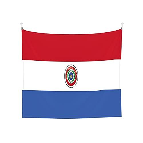 Flaggen von Paraguay Tapisserie Wandbehang Tarot-Boho, beliebte mystische Trippy Yoga Hippie Tapisserie für Wohnzimmer Schlafzimmer Wohnheim Heimdekor Schwarz & Weiß Stranddecke