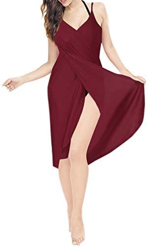 LA LEELA Frauen Strand Vertuschung Wickeln Sommer Wickeln langes Kleid Bikini kastanienbraun_A306 3XL