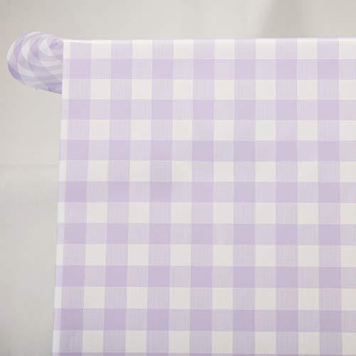 Vinylla - Tovaglia in PVC con motivo a quadretti lilla, facile da pulire con un panno, PVC, Lilla, 140 x 240 cm