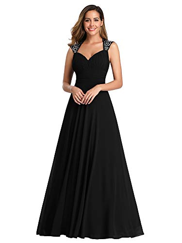 Ever-Pretty Womens V Neck Ruched Bust Long Evening Dress 4 US Black