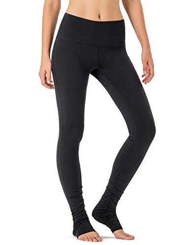 Naviskin Women's High Waisted Extra Long Yoga Leggings Over The Heel Leggings Back Pocket Black Size M