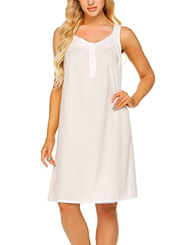 Ekouaer Sleeveless Night Shirts with Cute Lace Button Front Nightgown Soft Sleep Dress for Women Girls(Raw White, M)