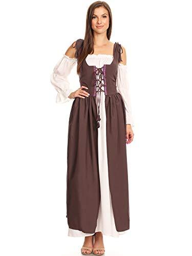 ANNA-KACI Damen Renaissance Mittelalter Kostüm Magd Bäuerin Celia Kleid,Braun,L