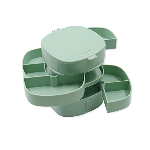 ASY Jewelry Box With 4 Layer Rotatable 360° Rotating Organizer Containers Display Tray Storage Case Rings Necklace Bracelet Earrings Holder Desktop Decor Gift For Girls Mother Women (Color : Green)