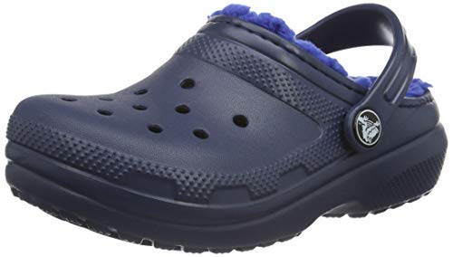 Crocs unisex child Kids' Classic Lined | Warm Cozy Fuzzy Slippers clogs and mules shoes, Navy/Cerulean Blue, 5 Toddler US