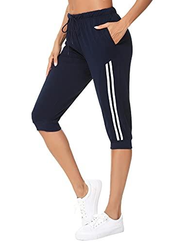 Doaraha Pantalones Pirata de Running Mujer Pantalón Capri Pants...