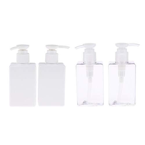 dailymall 4pcs Distributeur de Savon Rechargeable en Plastique pour Lotion, Shampooing, Revitalisant, Gel