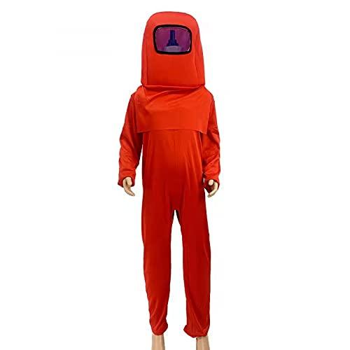 Amon_g Us Disfraz de Mono de Cosplay Personaje de Juego Astronauta Fihure Disfraz de Mono con Sombrero Fiesta Traje de Mameluco Rojo Cumpleaños de Halloween Vestido Creativo para Niños Niños Niñas