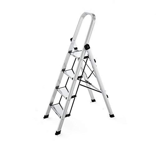 3 Peldaños Escalera De Mano Aleación De Aluminio Plegable Multifuncional Hogar 4 5 Peldaños Escalera Interior Pequeña Escalera Portátil Escalera Soporte De Carga 150 Kg 4 Pasos Blanco Plateado