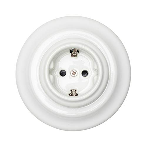 Germany Schuko Base Enchufe Porcelana con tierra,caja de empotrar 16A,240V Blanco