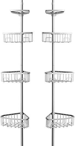 PALAKLOT Teleskop-Eckregal, rostfrei, 4 Etagen, Dusch-Caddy, Organizer, verstellbarer Ständer für Handtuch, Seife und Shampoos, L 21,59 cm x B 26,67 cm x H 274,32 cm
