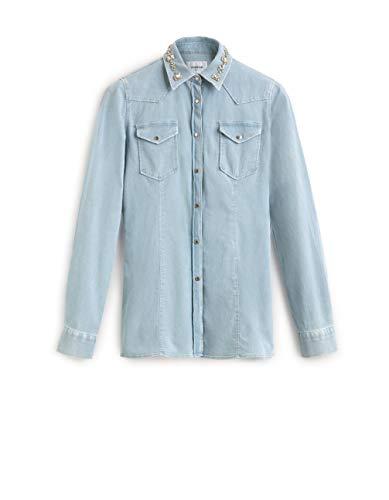 DONDUP Jeanshemd Denim aus Baumwolle Blau Denim Chiaro 38