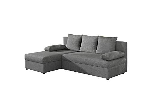 E- MEUBLES Canapé d'angle en lit Convertible et réversible avec Coffre de Rangement 3/4 Places - en Tissu - Salon & séjour - ARON (Gris Clair (Sawana 21))