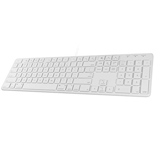 Macally Slim USB Wired Keyboard - Full Size 104 Key Layout & 16...