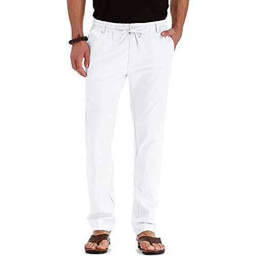 Men's Drawstring Fall Beach Loose Trousers Linen Pants with Elastic Waistband Comfy Business Casual Dress Pants Men White