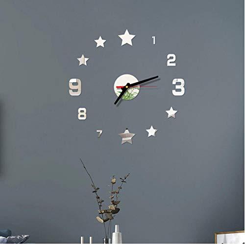 Wandklok Wanduhr Modernes Design Spiegel Wandaufkleber Home Office Dekoration Uhr Sternform Nummer Wandaufkleber Uhr