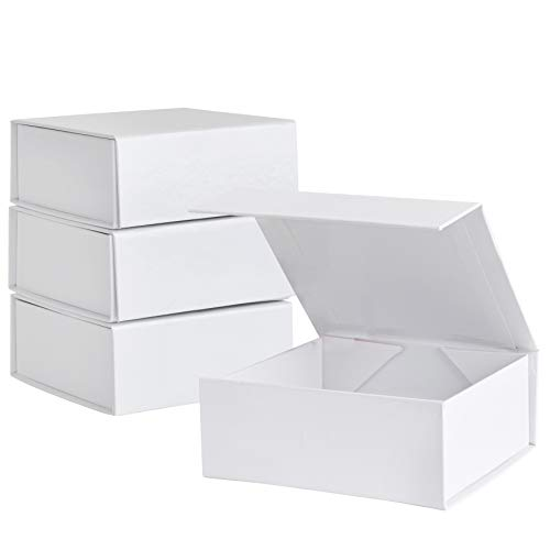 "Small White Hard Gift Box With Magnetic Closure Lid 4"" x 4"" x 2"" Square Favor Boxes With White Glossy Finish (5 Pack)"