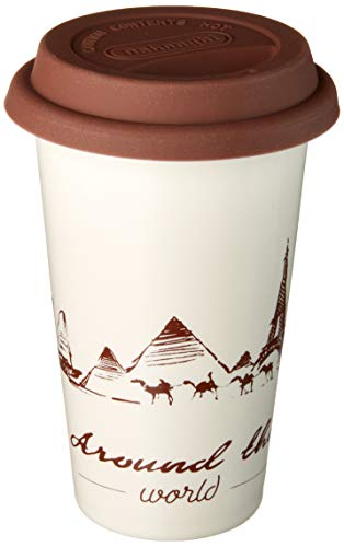 De'Longhi Hot Coffee Travel Mug Thermo-Becher, keramik, Globetrotter-Design