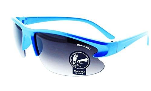 Gafas de sol deportivas para hombre - correr - ciclismo - esquiar - UV400 polarizado - montura azul - lente violeta - primavera - otoño - invierno - verano