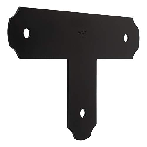 National Hardware N800-012 Decorative T Strap Outdoor Reinforcement Hardware Accents Brackets and Bracers for Pergolas Gazebos Garden Arches and Raised Garden Beds, 3 X 13 1/2 X 8 1/4, Hartley, Black