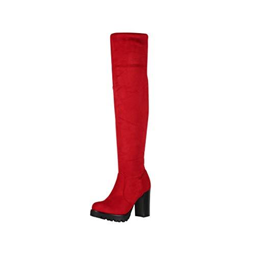 Elara Damen Stiefel Overknee High Heels Absatz Rot Chunkyrayan 0-96-Red-36