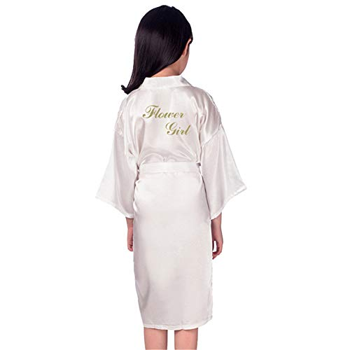 Flower Girls Raso Kimono túnicas Boda Dama Honor