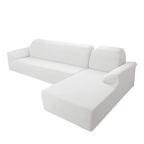 E EBETA Funda Elástica para Sofá Chaise Longue, Funda Cubre Sofá Chaise Longue Jacquard Funda de sofá para Juego de 2 en Forma de L + sofá de Esquina de 2 plazas Derecho (Blanco como la Leche)