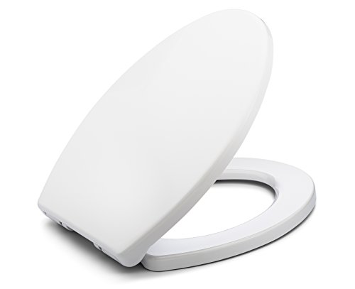 BATH ROYALE BR237-00 MasterSuite Elongated Toilet Seat with Cover, White – Slow Close, Easy Clean, Replacement Toilet Seat Fits All Toilet Brands including Kohler, Toto and American Standard
