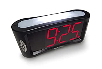 Travelwey Home LED Digital Alarm Clock - Outlet Powered No Frills Simple Operation Large Night Light Alarm Snooze Full Range Brightness Dimmer Big Red Digit Display Black