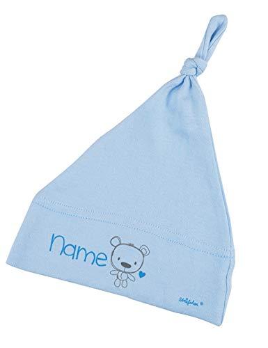 Striefchen® Hellblaue Babymütze mit Namen als Geschenk zur Geburt für Jungen