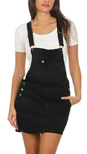 Fashion4Young 10115 Damen Jeansrock Minirock m. Trägern Latzrock Rock Denimrock Jeansskirt Stretch-Denim (M/38, schwarz)