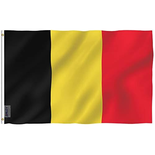 Anley Fly Breeze 90 x 150 cm Bandera Bélgica - Colores Vivos y Resistentes a Rayos UVA - Bordes Reforzados con Lona y Doble Costura - Nacional Belga Banderas Poliéster con Ojales de Latón