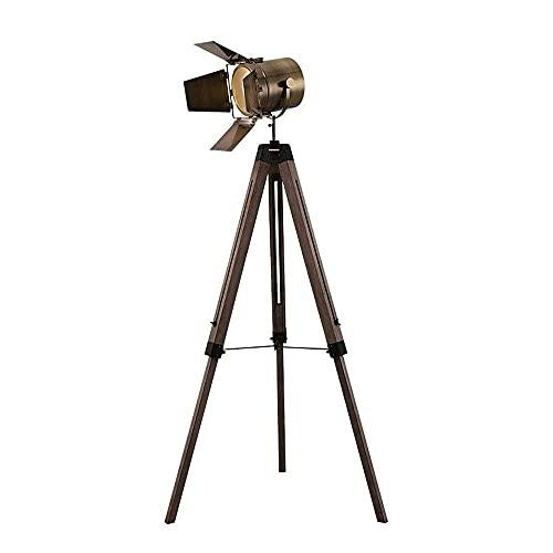 PJDOOJAE Foco de luz para fotografía Luces de fotografía Antiguas Lámpara de pie Retro con trípode de Madera, Lámpara de Mesa de Cine de luz de Piso Vintage Industrial Foco Antiguo para Vivir