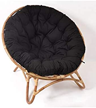 EDELL - Fauteuil loveuse rotin et Coussin Noir Raya