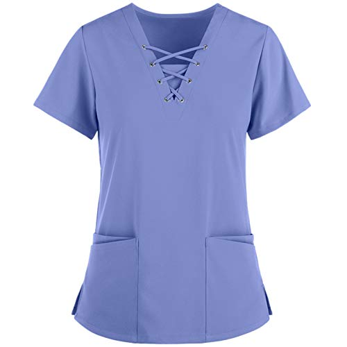 Pzhhzpingg Arbeitskleidung Pflege Damen Günstig Pflege Kittel V-Ausschnitt Kurzarm Schlupfkasack Schlupfjacke Laborkittel Einfarbig OP-Kleidung Damenkittel mit Zwei Taschen Tops Uniformen