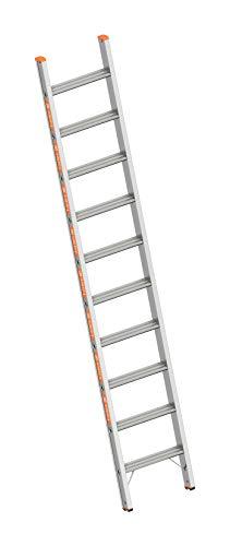 Layher 1042010 Stufenanlegeleiter Topic 10, Aluminiumleiter mit 80 mm Breiten Stufen, Länge 2.65 m