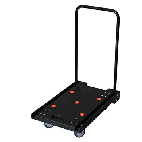 GFFTYX Carretilla de Mano Plegable Carro - Carro de Cuatro Ruedas Resistente a la abrasión Trolley Negro y Mudo Plataforma Plana Plegable Carro Plegable silencioso - Carga 120KG - 60 * 38 * 74 cm
