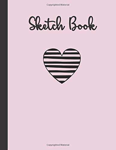 SKETCH BOOK: Red Striped Heart & Necktie Design in Black Cover SketchBook - Large Notebook for Drawing, Writing, Painting, Sketching or Doodling: 120 Pages, 8.5x11 Unlined Blank Paper Journal (Pink)