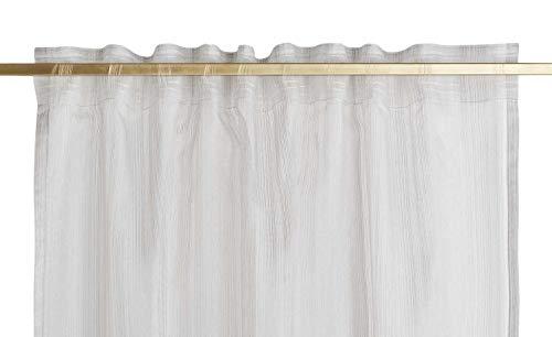 COMO Schlaufenschal Transparent Beige Grau Kupfer Gardine Vorhang 140x245cm Verdeckt, Farbe-Dekor:Grau