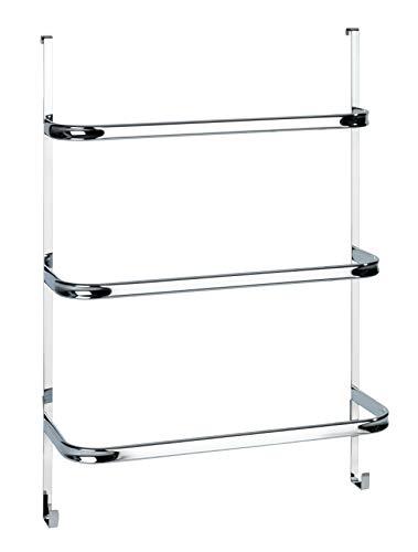 WENKO Handtuchhalter Irpinia Chrom - mit 3 Handtuchstangen, einfach Einhängen an Duschwand oder Tür, Stahl, 54.5 x 77.5 x 21.5 cm, Chrom