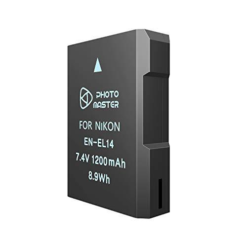 PHOTO MASTER EN-EL14/EN-EL14a - Batería de repuesto para Nikon D5500, D5300, D5200, D5100, D3500, D3300, D3200, D3100, DF, COOLPIX P7800, COOLPIX P7700, COOPIX X P710 0, COOLPIX P7000.