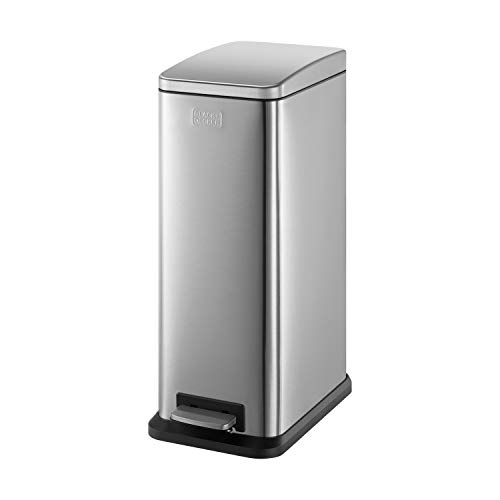 Black+Decker 61099 Cubo de Pedal estilizado LBlack+Decker BXBN0004GB con Tapa de Cierre Suave, Acero Inoxidable, 57,5 20 x 35cm, Gris frío, 56cm x 36cm x 21.6cm