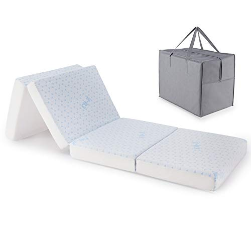 """CO-Z 4"""" Sub-Twin Folding Mattress, 4 Fold Memory Foam Mattress Topper, 75x25 Inch Twin Mattress w Breathable Bamboo Cover, Portable Chair & Bed Mattress for Guests Travel Camping and More w Carry Case"""