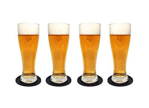 Juego de vasos de cerveza Nucleated Pilsner Craft Brimley 463 ml para beber cerveza Set de 4 con posavasos de silicona